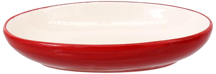 Bļoda kaķiem – MAGIC CAT, Ceramic Bowl, Oval, Red with Fish, 13 cm