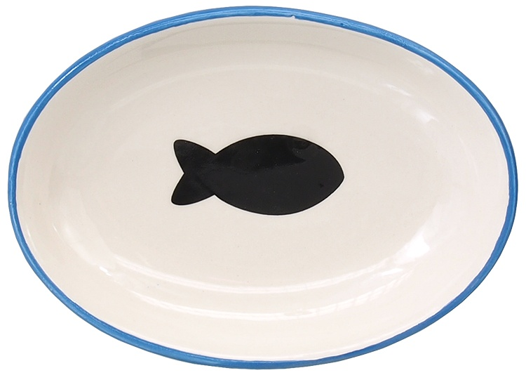Bļoda kaķiem - MAGIC CAT, Ceramic Bowl, oval, blue with fish, 13 cm