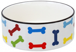 Миска для собак – Dog Fantasy Ceramic Bowl, White with Colored Bone Motif 20,5 см