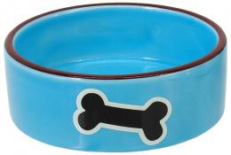 Миска для животных – Dog Fantasy Ceramic Bowl, Blue with Bone, 12,5 см