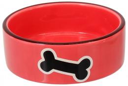 Миска для животных – Dog Fantasy Ceramic Bowl, Red with Bone, 12,5 см