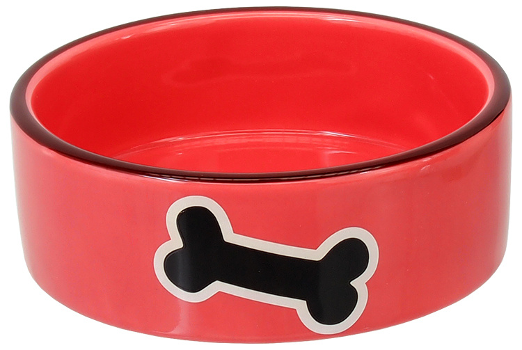 Миска - DOG FANTASY red with bone, 12.5 см