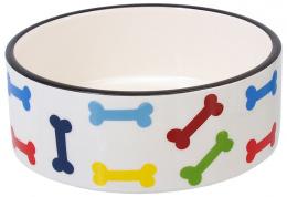 Bļoda suņiem – Dog Fantasy Ceramic Bowl, White with Colored Bone Motif 15,5 cm