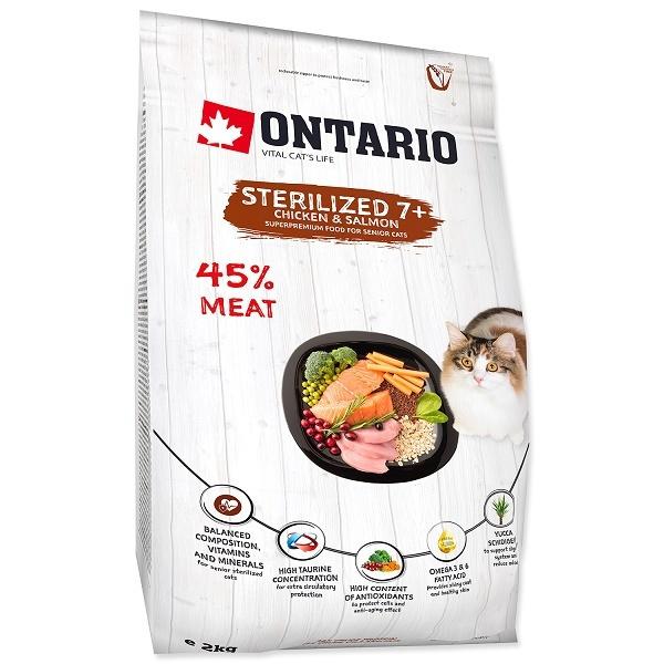Barība kaķiem - Ontario SP Cat Sterilised 7+, 2 kg