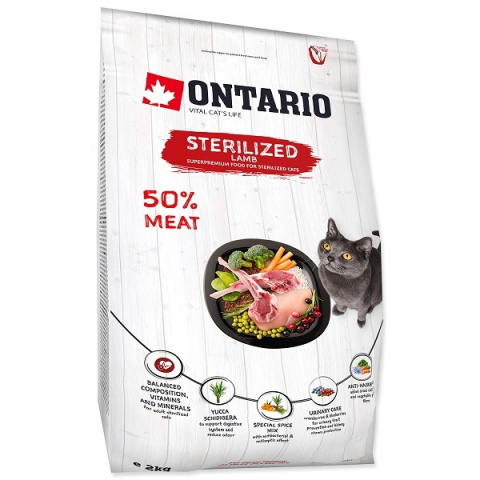 Корм для кошек - Ontario SP Cat Sterilised Lamb, 2 kg