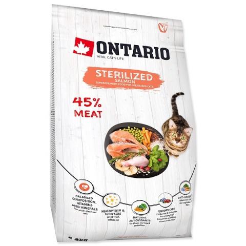 Корм для кошек -  Ontario SP Cat Sterilised, Salmon, 2 kg