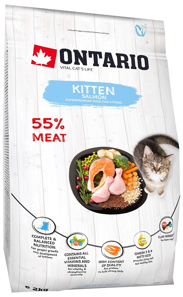 Barība kaķēniem - Ontario SP Cat Kitten Salmon, 2 kg