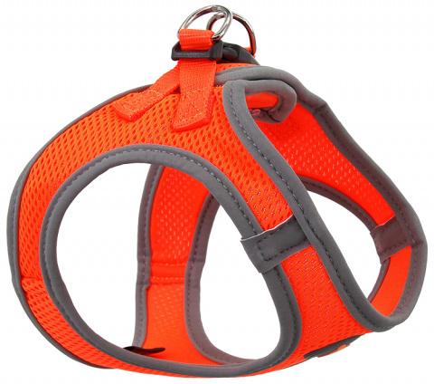 Krūšu siksna suņiem - Dog Fantasy, ar atstarojošiem elementiem, XS (32-36cm), oranža