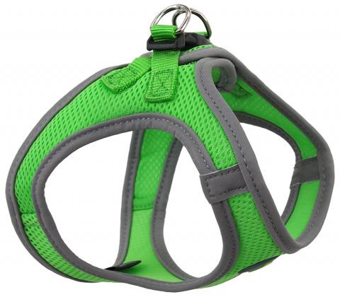 Krūšu siksna suņiem - Dog Fantasy, ar atstarojošiem elementiem, M (41-46cm), zaļa
