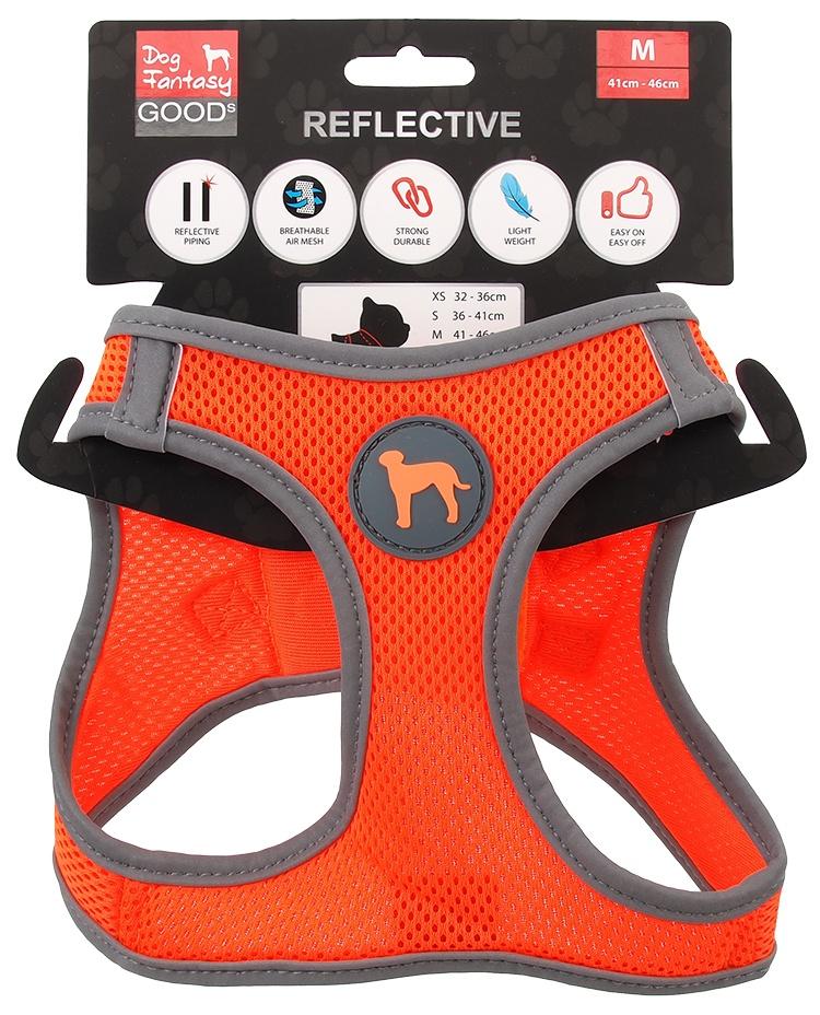 Krūšu siksna suņiem - Dog Fantasy, ar atstarojošiem elementiem, M (41-46cm), oranža