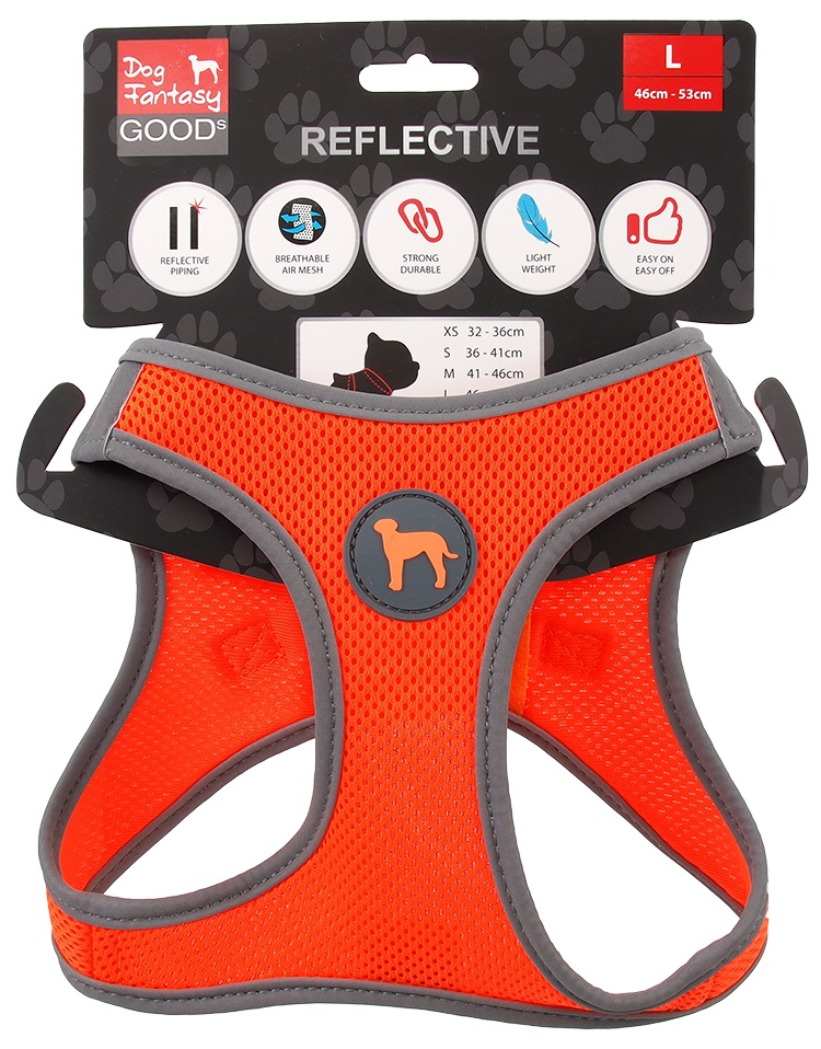 Krūšu siksna suņiem - Dog Fantasy, ar atstarojošiem elementiem, L (46-53cm), oranža