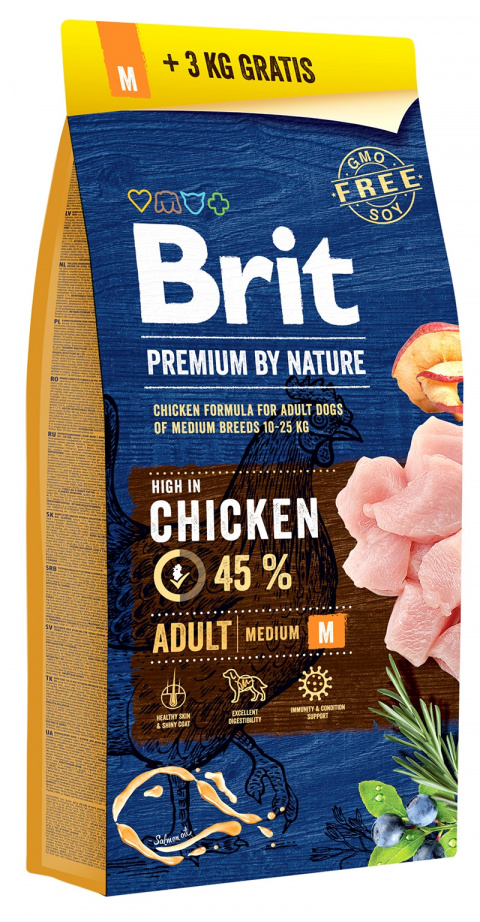 Barība suņiem - BRIT Premium By Nature, Adult M, 15+3 kg