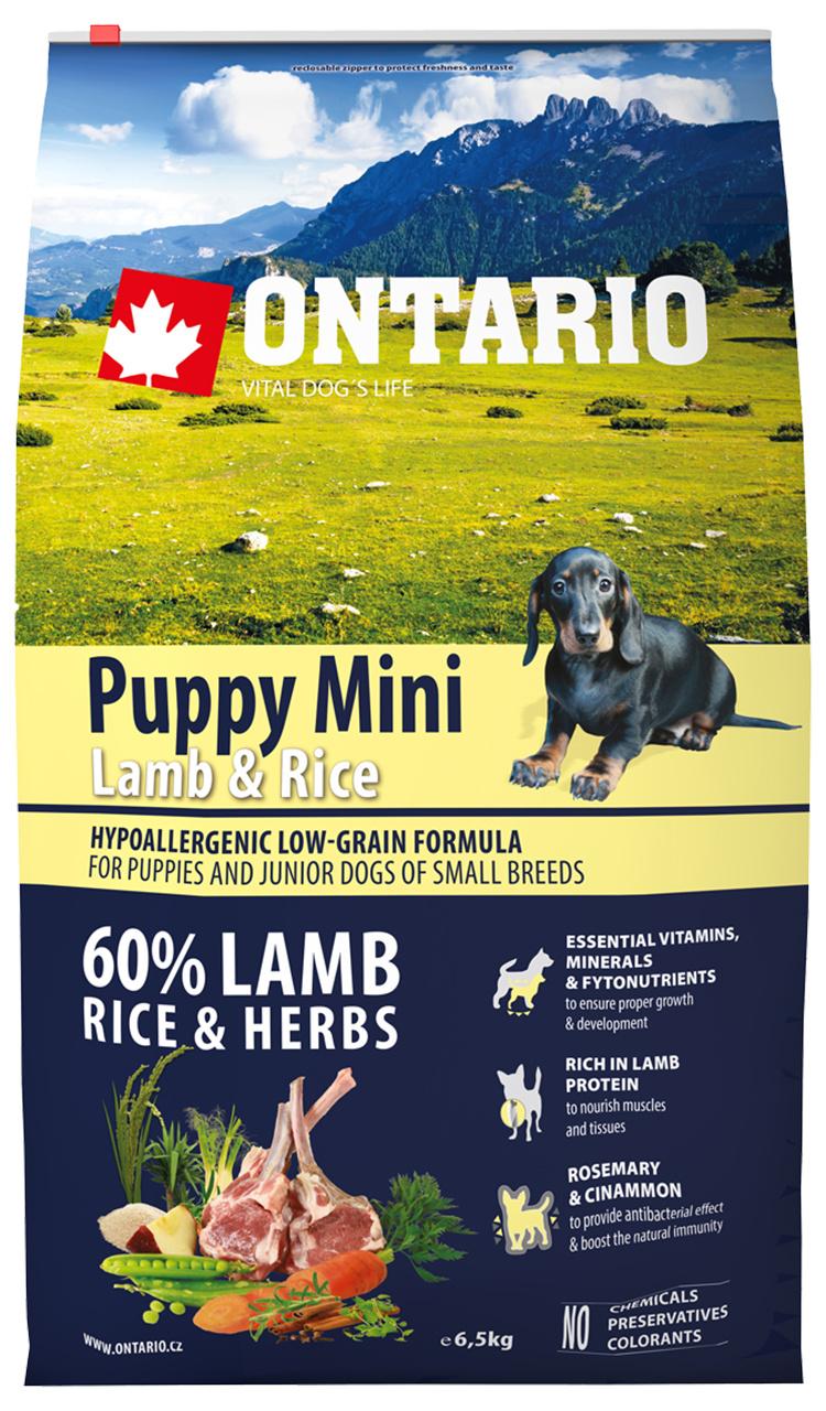 Корм для щенков - ONTARIO Puppy Mini Lamb and Rice, 6,5 кг