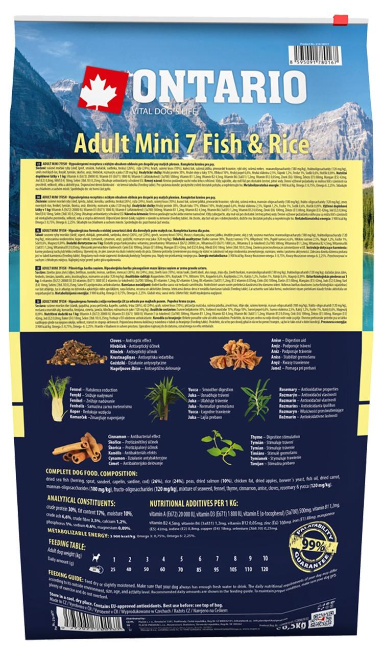 Barība suņiem - ONTARIO Adult Mini Fish & Rice 6.5kg