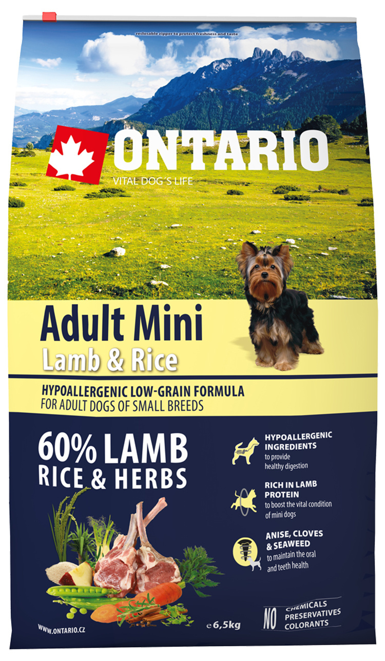 Bar­ība suņiem - ONTARIO Adult Mini Lamb & Rice 6.5kg