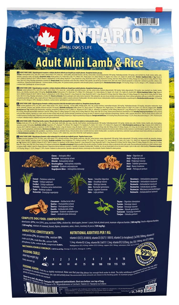 Barība suņiem - ONTARIO Adult Mini Lamb & Rice 6.5kg