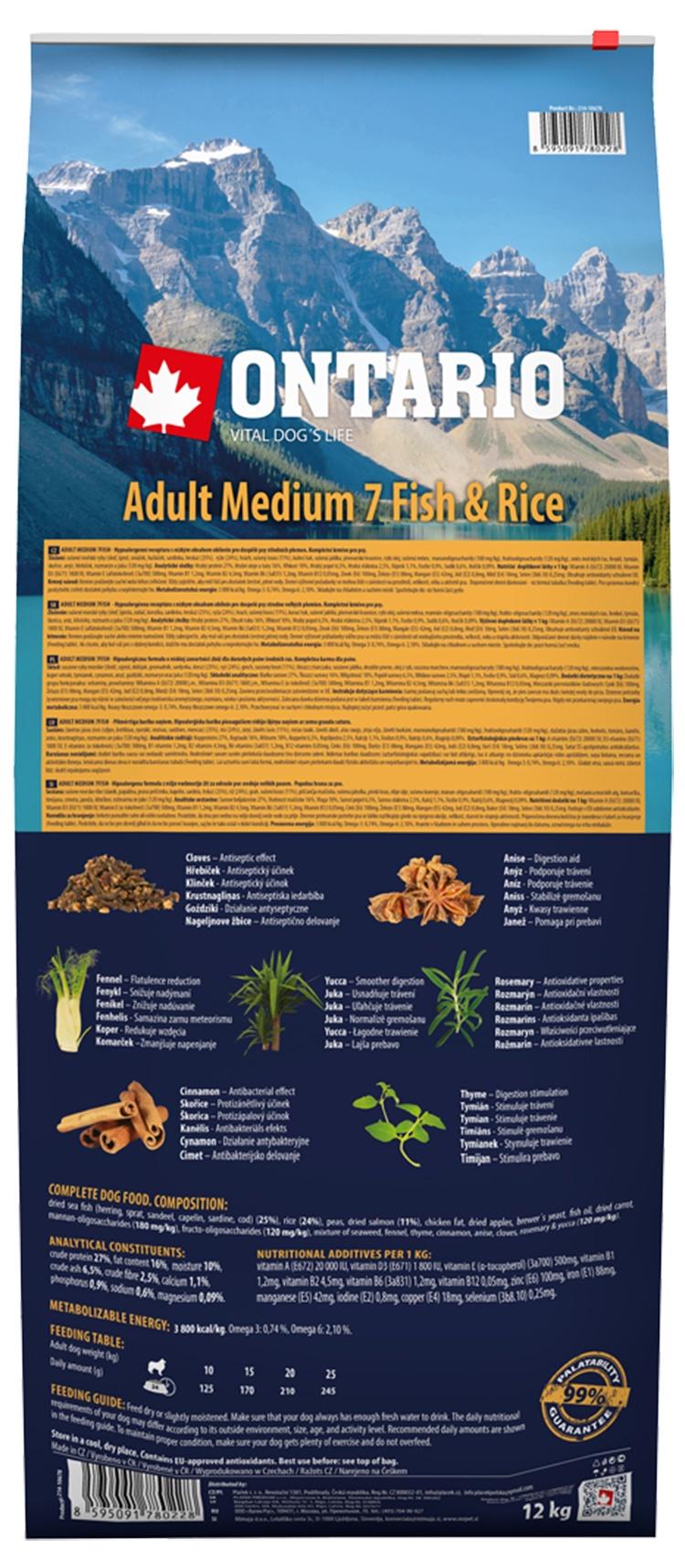 Корм для собак - ONTARIO Adult Medium Fish & Rice, 12 кг