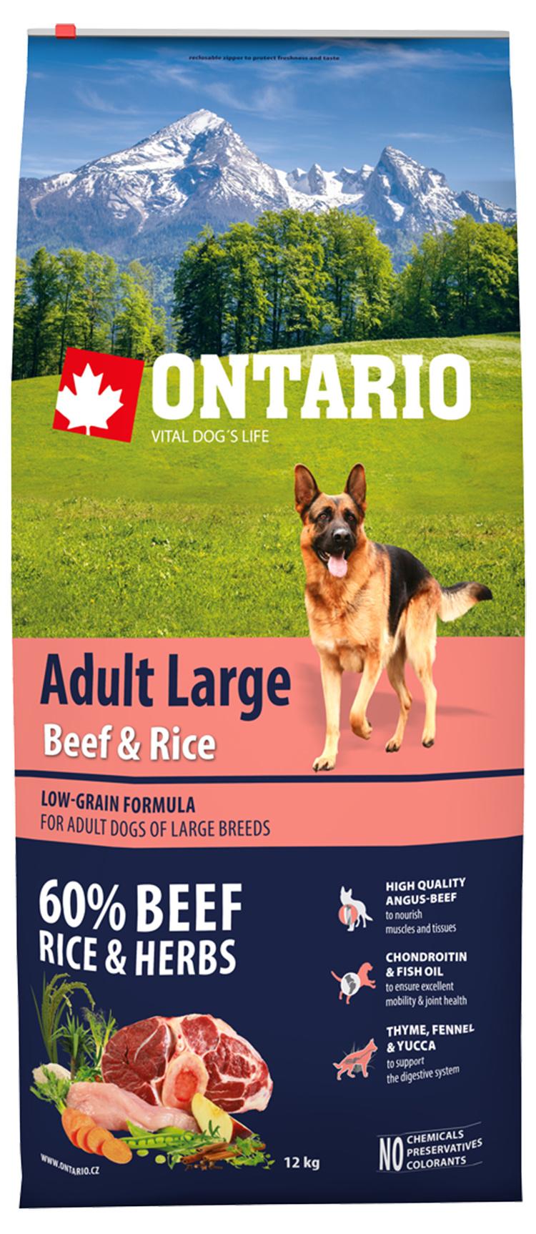 Корм для крупных собак - ONTARIO Adult Large Beef & Rice, 12 кг