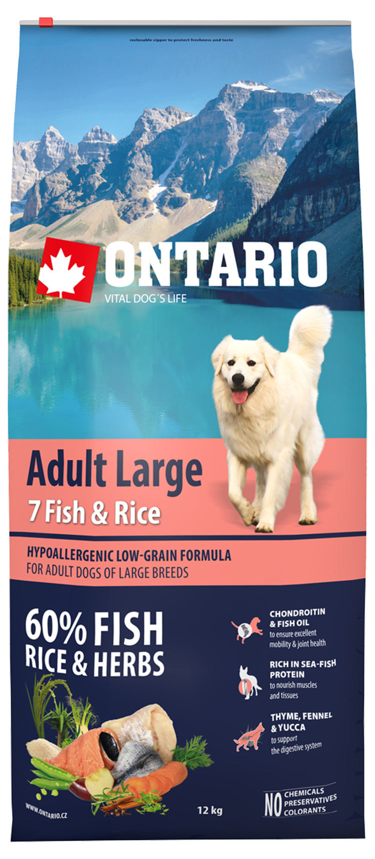 Barība suņiem - ONTARIO Adult Large Fish & Rice, 12 kg