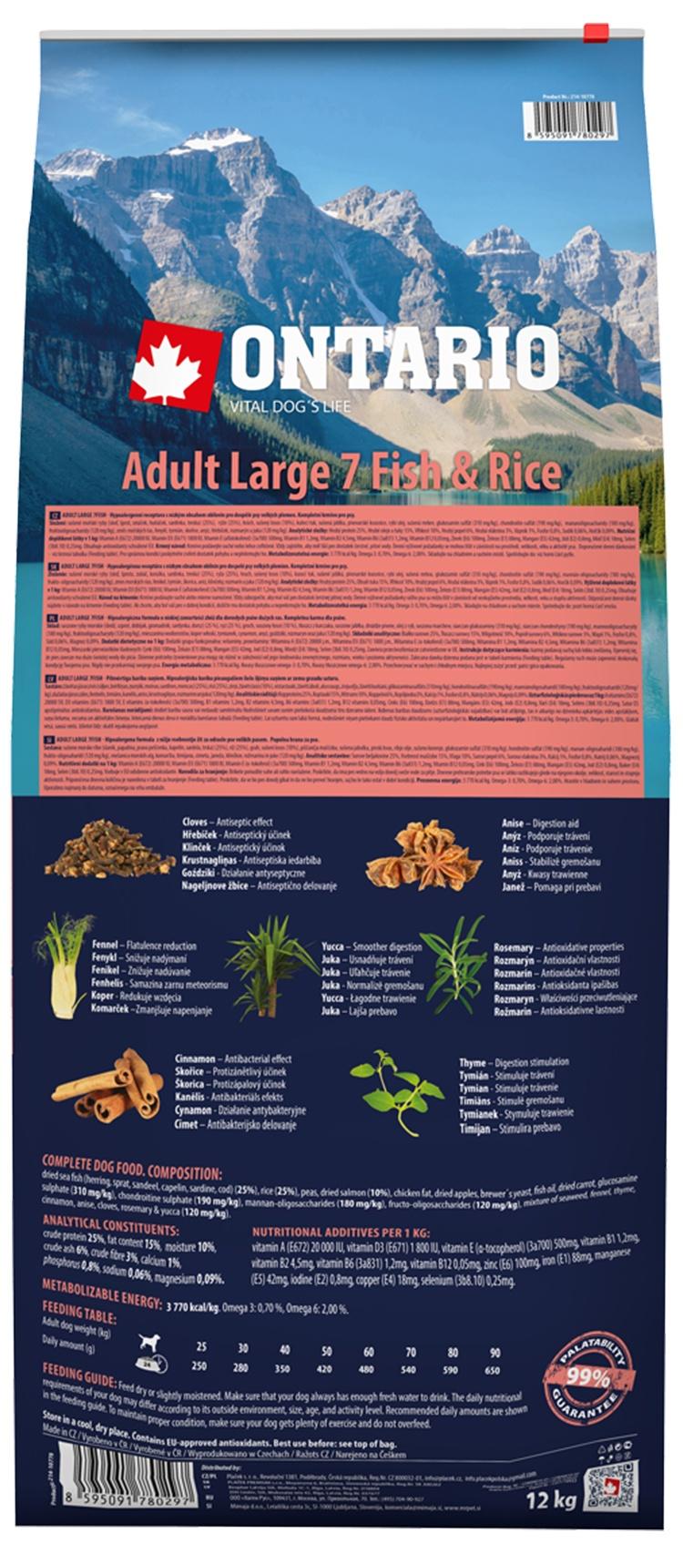 Корм для собак - ONTARIO Adult Large Fish & Rice, 12 кг
