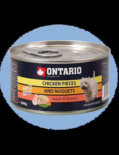 Konservi suņiem - Ontario Adult Chicken Nuggets, 200 g title=