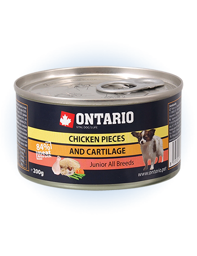 Konservi kucēniem - Ontario Junior Chicken Cartilage 200g