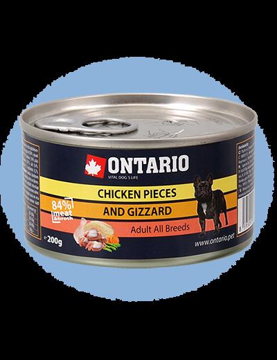 Консервы для собак - Ontario Adult Chicken Gizzard 200g