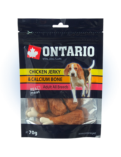Gardums suņiem - Ontario Chicken Jerky & Calcium Bone, 70 g title=