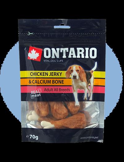 Gardums suņiem – Ontario Chicken Jerky and Calcium Bone, 70 g title=