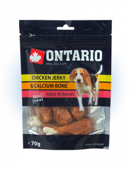 Лакомство для собак - Ontario Chicken Jerky & Calcium Bone 70g