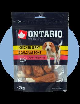 Лакомство для собак – Ontario Chicken Jerky and Calcium Bone, 70 г