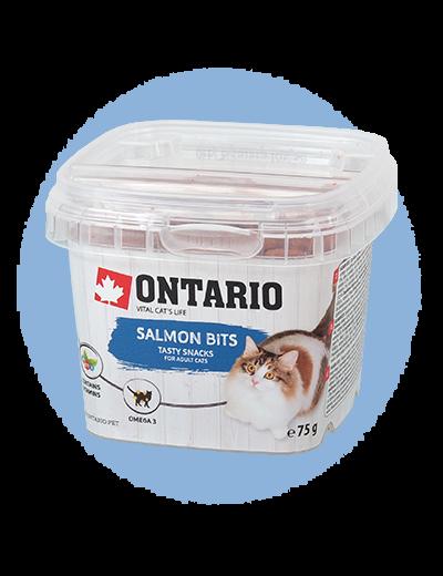 Лакомство для кошек - Ontario Salmon bits, 75 g title=