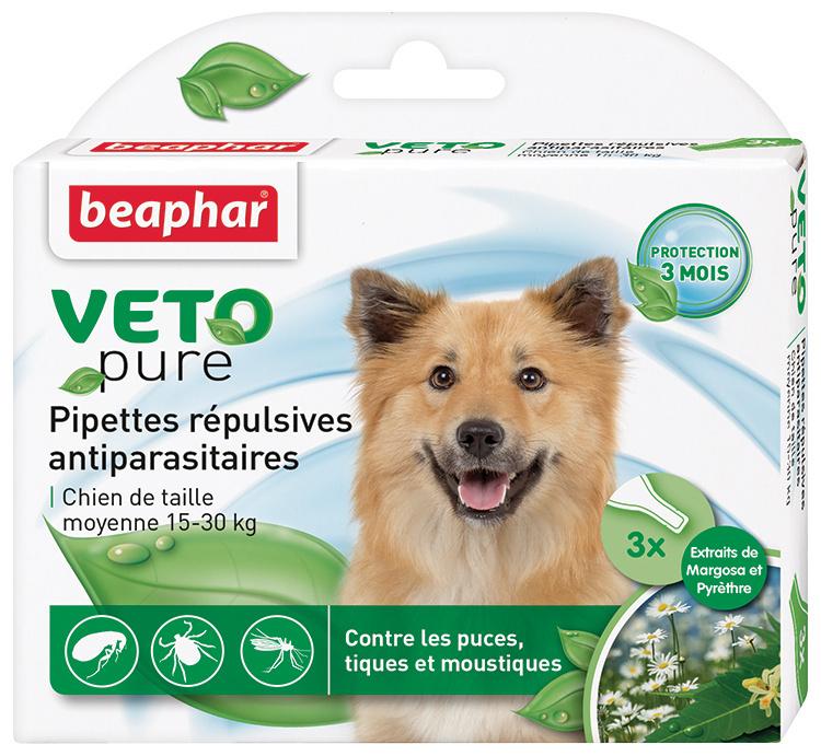 Līdzeklis pret blusām, ērcēm, odiem suņiem, 15-30kg - Beaphar Veto pure Spot on, 3 gab.
