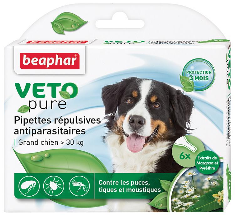 Līdzeklis pret blusām, ērcēm, odiem suņiem, no 30 kg - Beaphar Veto Pure Spot on, 6 gab