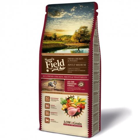 Корм для собак - SamsField Fresh Chicken & Potato Adult Medium, 13 кг