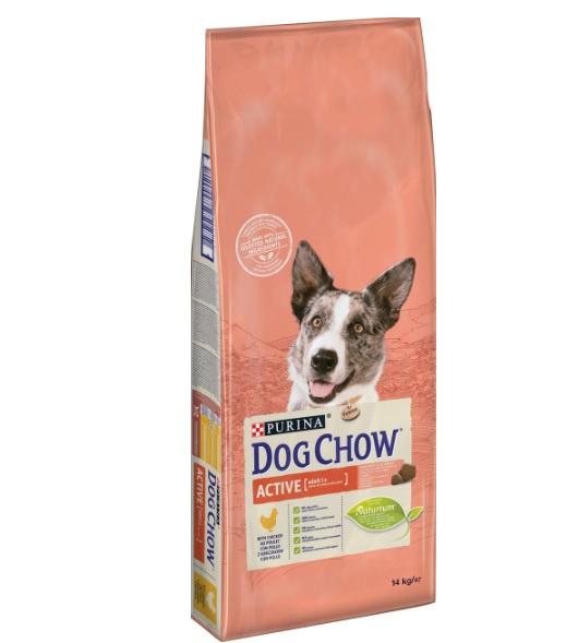 Barība aktīviem suņiem - Dog Chow Active ar vistu un rīsiem, 14 kg