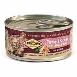 Konservi kaķēniem - CARNILOVE Wild Meat Turkey & Salmon for Kittens, 100 g