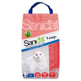 Цементирующий песок для кошачьего туалета - Sanicat 7 days, Aloe Vera, 4 л