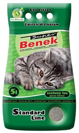 Цементирующий песок для кошачьего туалета -  Super Benek зеленый Forest, 5L