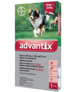 Līdzeklis pret blusām, ērcēm, odiem suņiem - Advantix, 10-25 kg, 1 pipete, bezrecepšu vet.zāles reģ. NR - VA - 072463/3