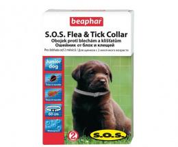 Препарат против блох, клещей для щенков- ошейник Beaphar SOS FLEA & TICK , 60 см, безрецептурный препарат NR VA - 072463/3