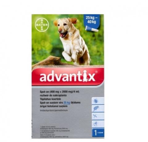 Līdzeklis pret blusām, ērcēm, odiem suņiem - Advantix, 25-40 kg, 1pipete, bezrecepšu vet.zāles reģ. NR. VA - 072463/3  title=