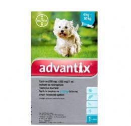 Препарат против блох, клещей, комаров для собак - Advantix, 4-10 кг, 1 пипетка, безрецептурный препарат, reģ. NR;VA - 072463/3