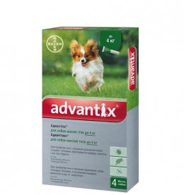Līdzeklis pret blusām, ērcēm, odiem suņiem - Advantix, līdz 4 kg, 1 pipete, bezrecepšu vet.zāles reģ. NR. VA - 072463/3