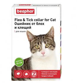 Līdzeklis pret blusām, ērcēm kaķiem - siksna Beaphar Ungezieferband For Cats, zaļa, 35 cm, bezrecepšu vet. zāles; NR - VA - 072463/3