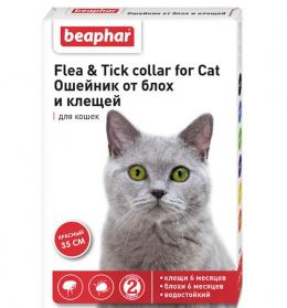 Ошейник против блох, клещей для кошек – Beaphar Ungezieferband, 35 см, красный, безрецептурный препарат, reģ. NR VA - 072463/3