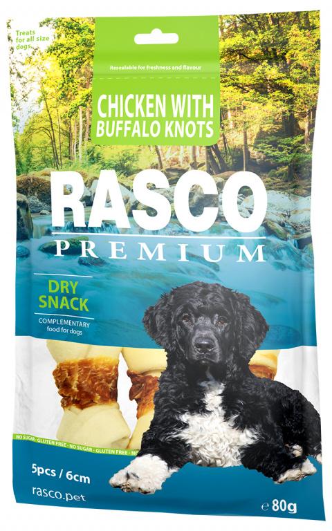 Gardums suņiem - Rasco Premium Rawhide Chicken with Buffalo Knots 6cm, 80 g