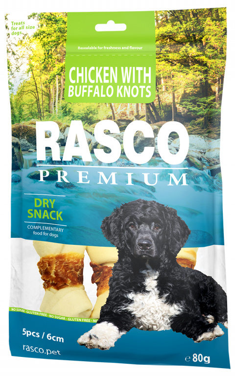 Gardums suņiem - Rasco Premium Rawhide Chicken with Buffalo Knots 6cm, 80 g