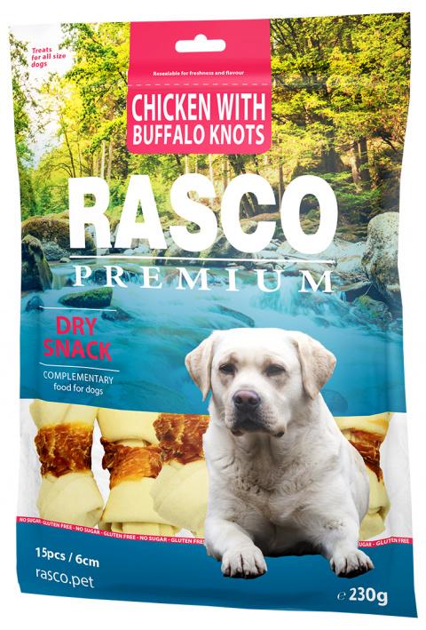 Gardums suņiem - Rasco Premium Rawhide Chicken with Buffalo Knots