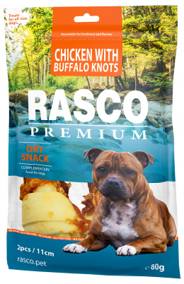 Gardums suņiem - Rasco Premium Rawhide Chicken with Buffalo Knots 11 cm, 80 g